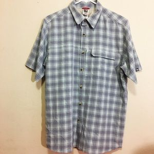 North Face Green Plaid Short Sleeve Shirt Medium